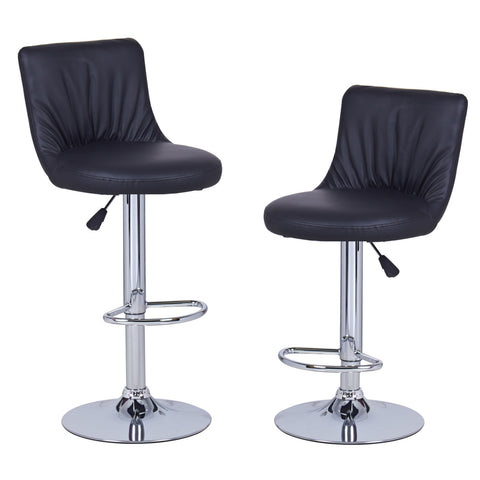 Black Puckered Leatherette Bar Stools (Set of two)