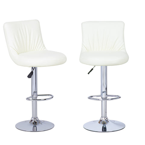 Cream Puckered Leatherette Bar Stools (Set of two)