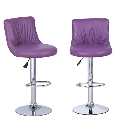 Purple Puckered Leatherette Bar Stools (Set of two)