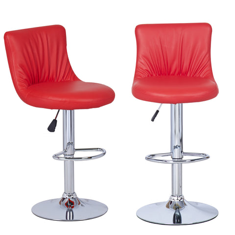 Red Puckered Leatherette Bar Stools (Set of two)