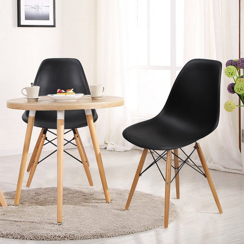 Black Charles & Ray Eames Modern Dining Chairs with Birch Wood Legs (Set of Two)