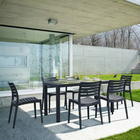 Compamia Ares Resin Rectangle Dining Set with 6 chairs Dark Gray ISP1861S-DGR