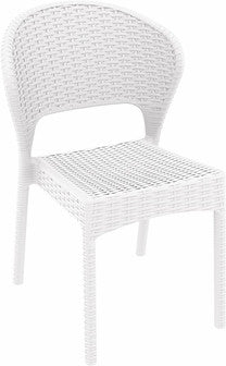 Compamia Daytona Resin Wickerlook Dining Chair White ISP818-WH