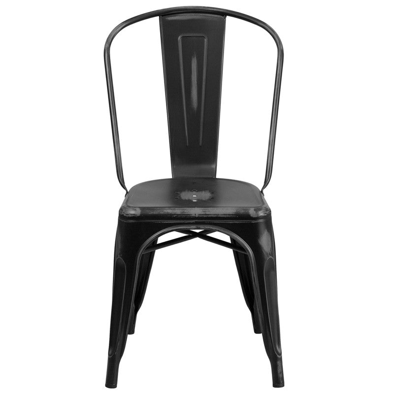 Tolix Style Distressed Black Metal Indoor/ Outdoor Stackable Chair