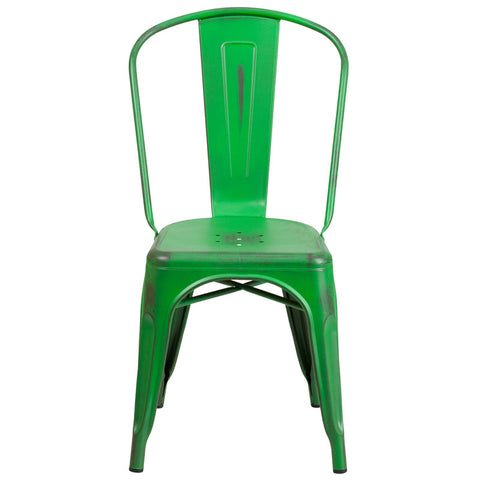 Tolix Style Distressed Green Metal Indoor/ Outdoor Stackable Chair