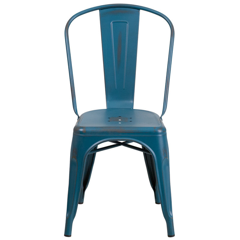 Tolix Style Distressed Kelly Blue Metal Indoor/ Outdoor Stackable Chair
