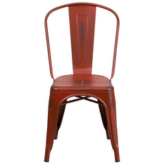 Tolix Style Distressed Kelly Red Metal Indoor/ Outdoor Stackable Chair - YourBarStoolStore + Chairs, Tables and Outdoor  - 1
