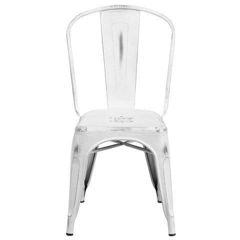 Tolix Style Distressed White Metal Indoor/ Outdoor Stackable Chair