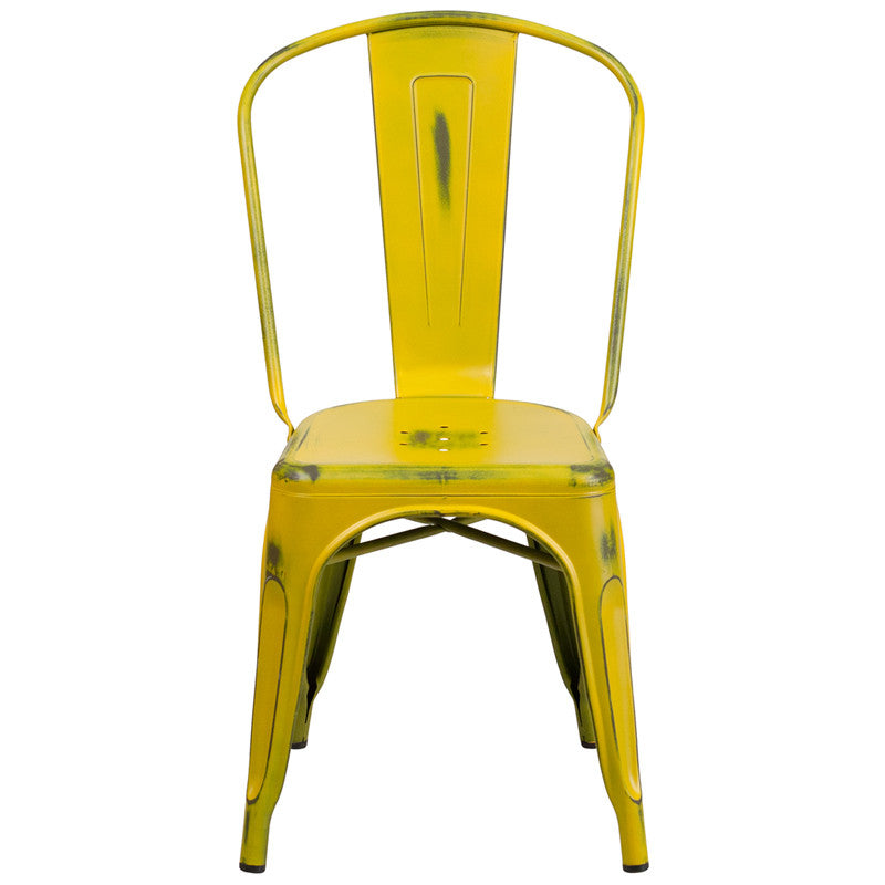 Charmant Tolix Style Distressed Yellow Metal Indoor/ Outdoor Stackable Chair