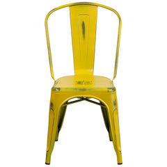 Tolix Style Distressed Yellow Metal Indoor/ Outdoor Stackable Chair - YourBarStoolStore + Chairs, Tables and Outdoor  - 1