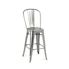Dreux Gunmetal High Back Steel Counter Stool 26 Inch