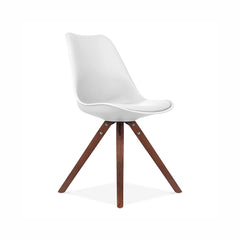 Viborg White Mid Century Side Chair Walnut Base