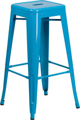 Tolix Style Backless Crystal Blue Metal Indoor-Outdoor Barstool - YourBarStoolStore + Chairs, Tables and Outdoor