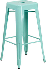 Tolix Style Backless Mint Green Metal Indoor-Outdoor Barstool - YourBarStoolStore + Chairs, Tables and Outdoor