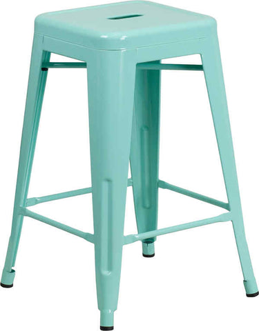Tolix Style Backless Mint Green Metal Indoor-Outdoor Counter Height Stool