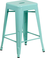 Tolix Style Backless Mint Green Metal Indoor-Outdoor Counter Height Stool - YourBarStoolStore + Chairs, Tables and Outdoor