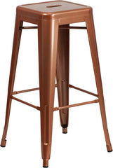 Tolix Style Backless Copper Metal Indoor-Outdoor Barstool - YourBarStoolStore + Chairs, Tables and Outdoor
