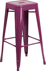 Tolix Style Backless Purple Metal Indoor-Outdoor Barstool - YourBarStoolStore + Chairs, Tables and Outdoor