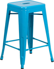 Tolix Style Backless Crystal Blue Metal Indoor-Outdoor Counter Height Stool - YourBarStoolStore + Chairs, Tables and Outdoor