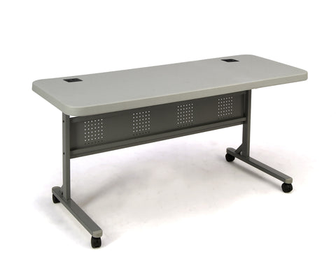 "Specked Grey Blow Molded Plastic Flip-n-Store Table 24"" x 60""  BPFT-2460"
