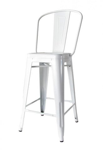 Bouchon Counter Stool with Back - White