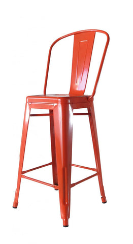 Bouchon Counter Stool with Back - Orange