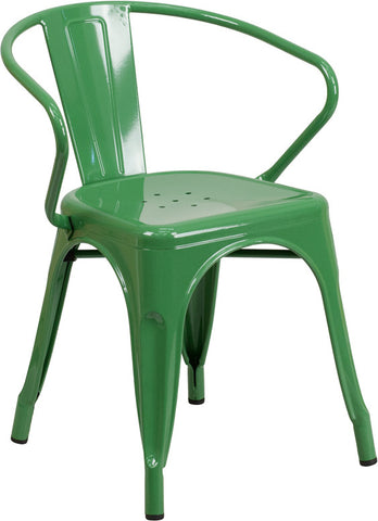 Tolix Style Green Metal Indoor-Outdoor Chair with Arms