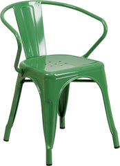 $70.00 Was $150.00 Tolix Style Green Metal Indoor Outdoor Chair With Arms    YourBarStoolStore + Chairs, Tables