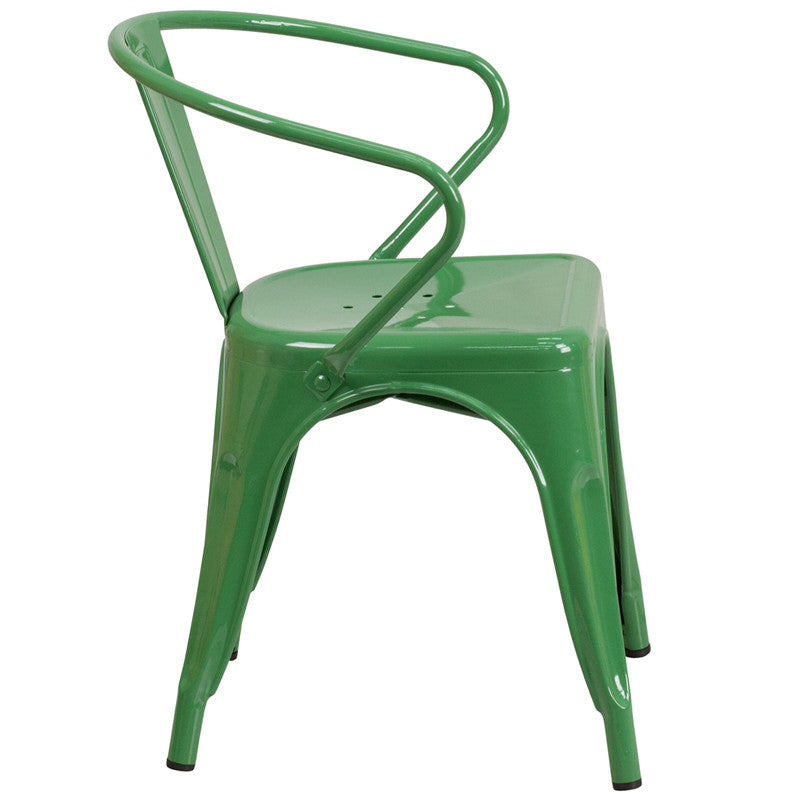 Tolix Style Green Metal Indoor Outdoor Chair With Arms   YourBarStoolStore  + Chairs, Tables ...