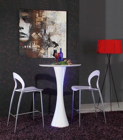 Modrest Twirl - White Contemporary LED Gloss Bar Table