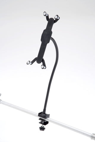 Black, flexible arm can be used to mount tablets and netbooks of all sizes.  FAUTH