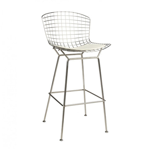 ModMade Chrome Wire Barstool MM-8033L-White