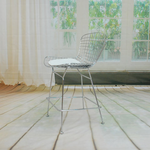 ModMade Chrome Wire Counter Stool MM-8033LS-White