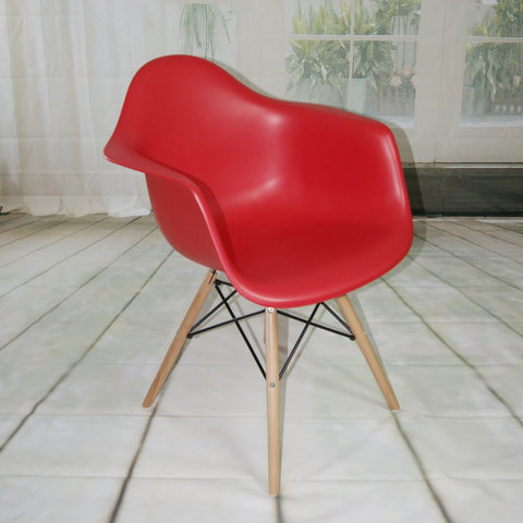 ModMade Paris Tower Arm Chair Wood Leg 2-Pack MM-PC-018W-Red