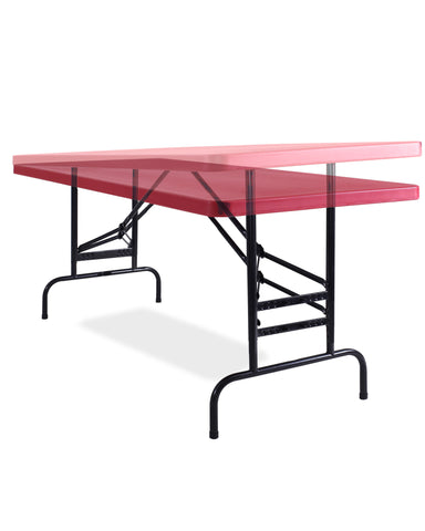 "Adjustable Height Folding Table Red- 30"" x 72"" x 1 3/4"" BTA-3072-40"