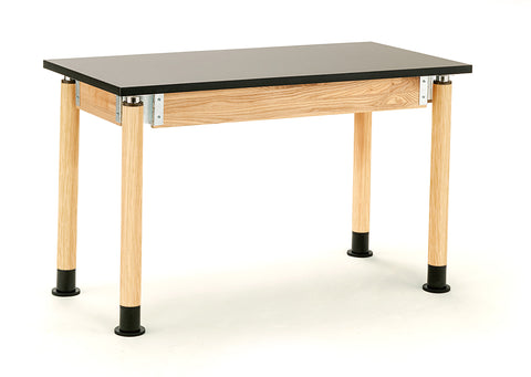 "Science Lab Table - Chem-Res Top - Plain Front - 24 x 48 - Adjustable 29""-41"" - Oak Legs, Casters* SLT2448AH-OK-CAST"