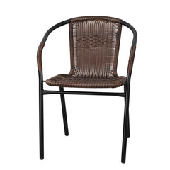 Commercial Dark Brown Rattan Indoor-Outdoor Restaurant Stack Chair - YourBarStoolStore + Chairs, Tables and Outdoor