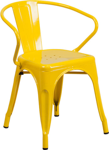 Tolix Style Yellow Metal Indoor-Outdoor Chair with Arms