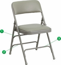 CURVED TRIPLE BRACED & DOUBLE HINGED GRAY VINYL UPHOLSTERED METAL FOLDING CHAIR