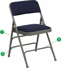 CURVED TRIPLE BRACED & DOUBLE HINGED NAVY FABRIC UPHOLSTERED METAL FOLDING CHAIR