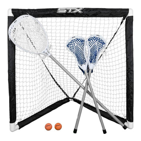 STX FiddleSTX Three Player Game Set Two Field Player Sticks One Goalie Stick Mini Goal and Balls