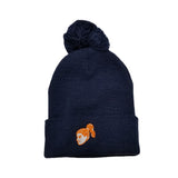 Girls Navy Pom Beanie