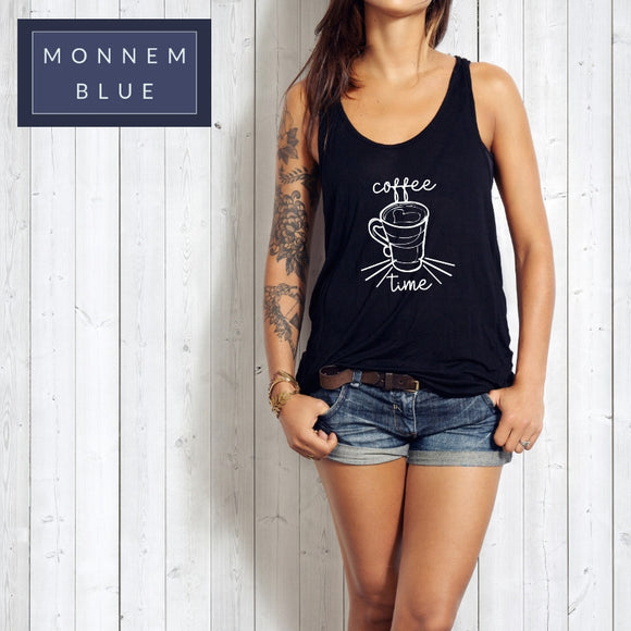 Coffee Time Baumwolle Tank Top schwarz