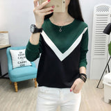 Modisches long sleeve Patchwork T shirt für Frauen, Modell Cappuccino