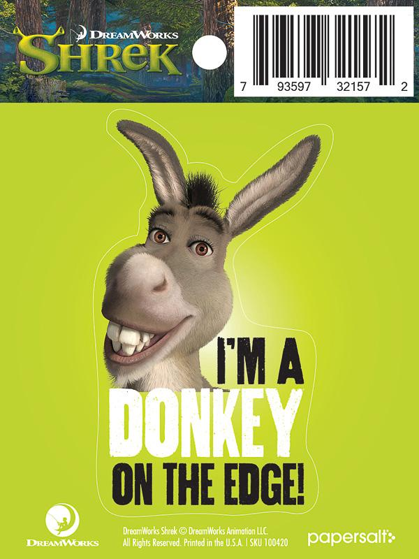 """I'm a Donkey on the Edge"" Kiss-Cut Sticker - Pack of 6"