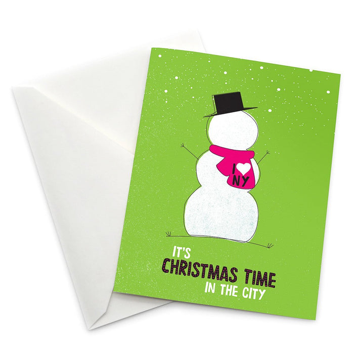 New York City Christmas Snowman Card - Pack of 6