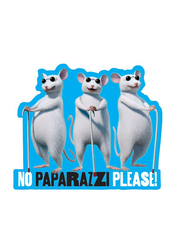 "Three Blind Mice ""No Paparazzi Please"" Kiss-Cut Sticker - Pack of 6"