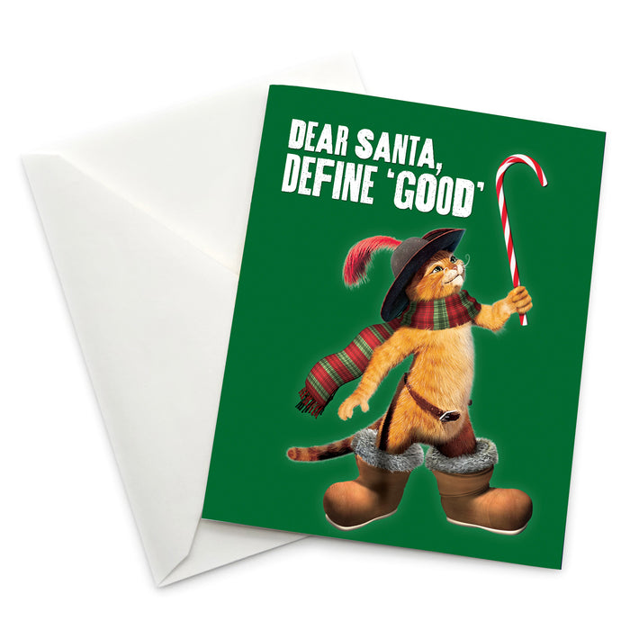 "Puss in Boots ""Dear Santa, Define 'Good'"" Holiday Card - Pack of 6"