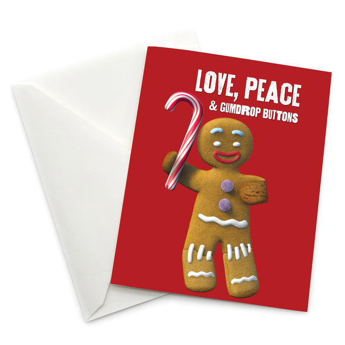"Gingy ""Love, Peace & Gumdrop Buttons"" Holiday Card - Pack of 6"