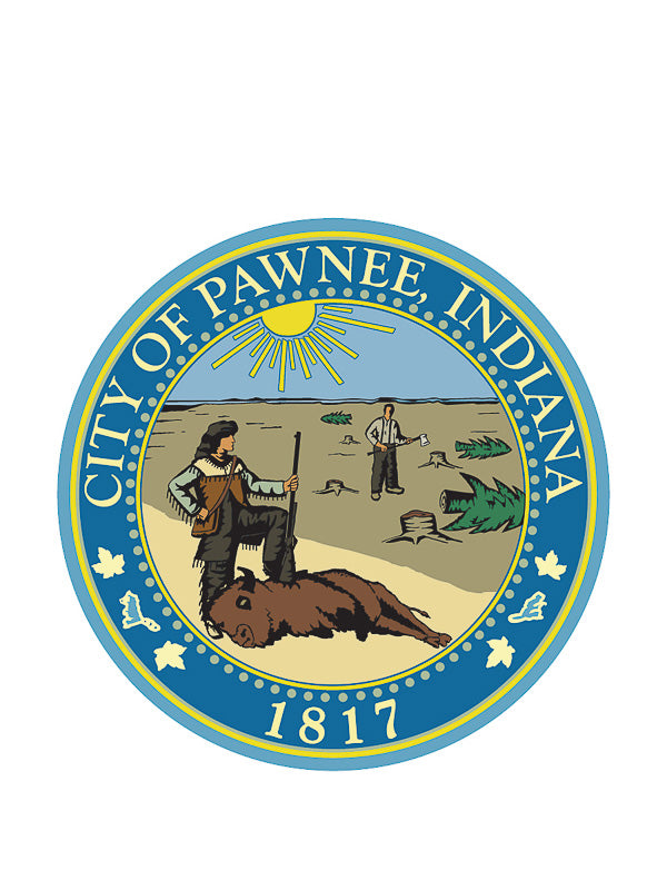 Sticker: Parks and Rec, City of Pawnee Logo - Pack of 6
